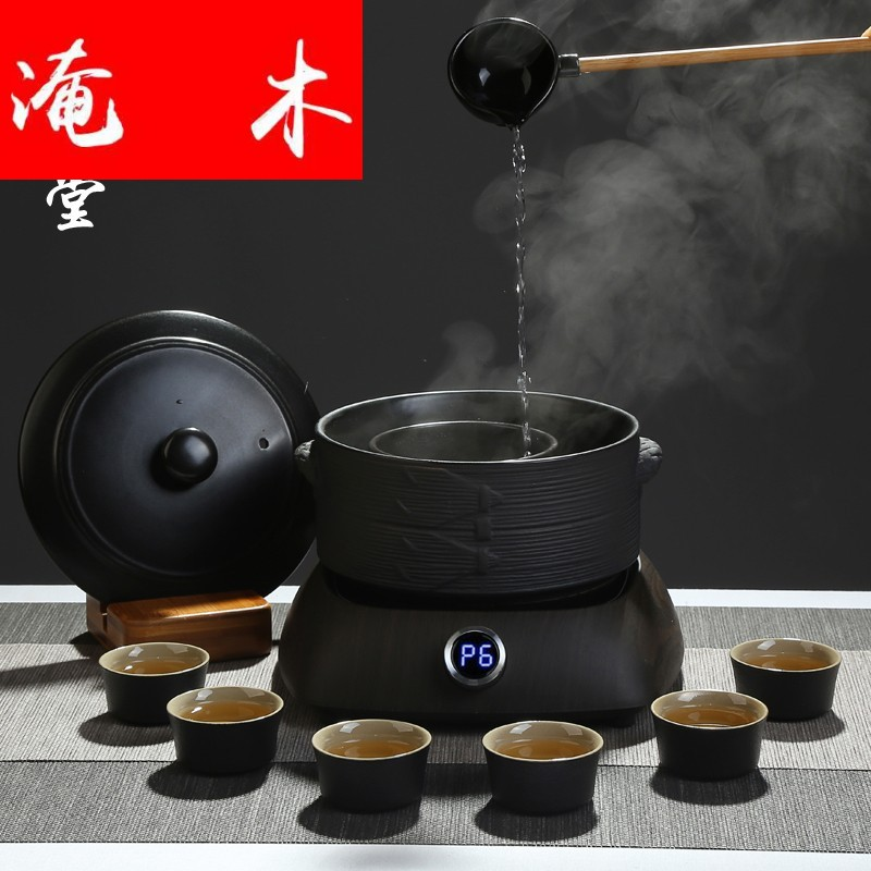 Black tea the flooded wood Wen Xuantang ceramic boiled tea, the electric TaoLu tea stove suit kung fu tea set the boiled tea, the electric tea stove