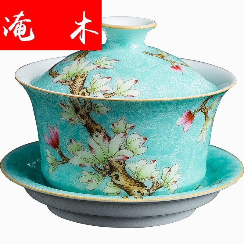 Submerged ancient jun jingdezhen wood grilled pastel flowers tureen large household hand - made cups three bowl kung fu tea set
