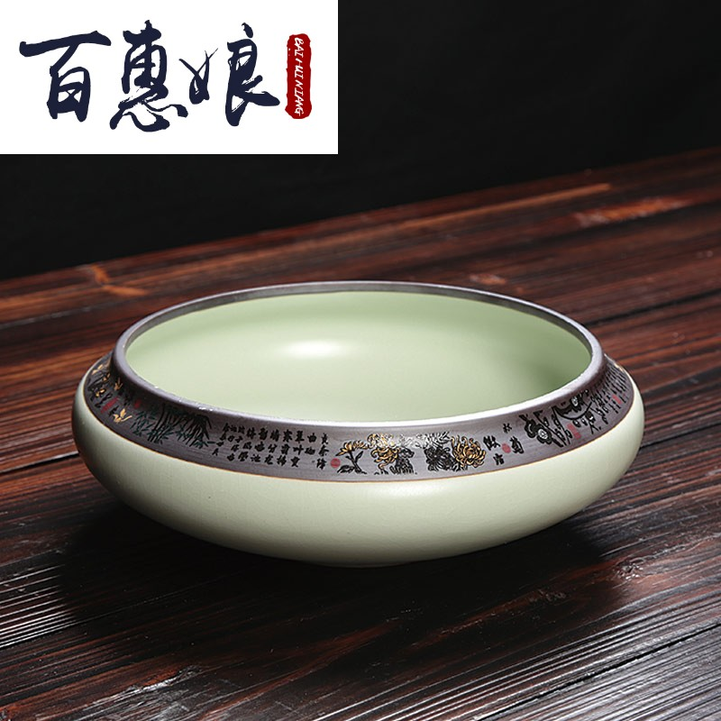 (niang elder brother up cup tea wash to wash water, after the heavy large household Japanese zen ceramics jingdezhen archaize potted the plants