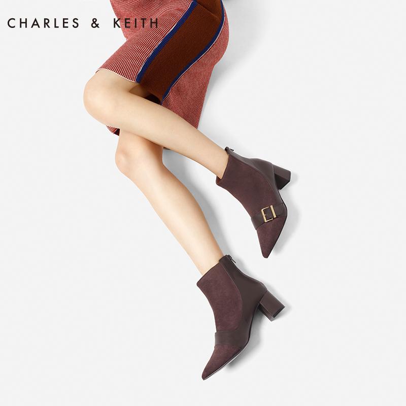 CHARLES&KEITH新品女靴CK1-90360304金属扣装饰女士尖头短靴
