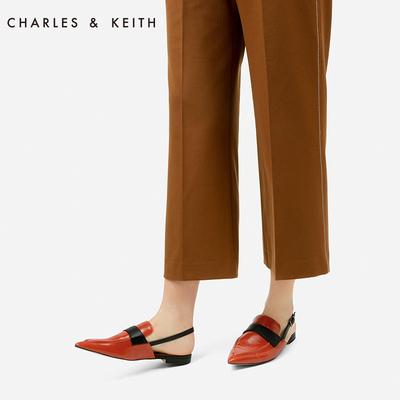 CHARLES&KEITH夏凉鞋女CK1-70380657英伦风尖头后绊带平底鞋