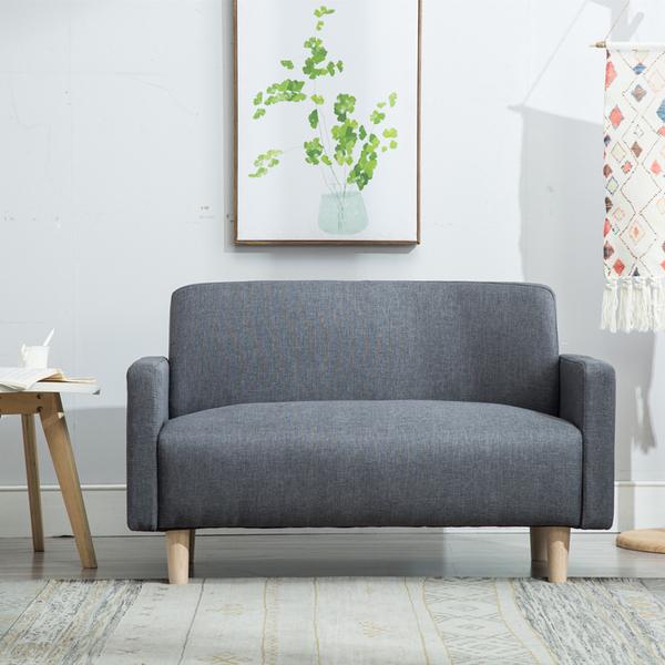 北欧现代简约小型双人二人布艺沙发单身公寓租房店铺卧室小沙发椅