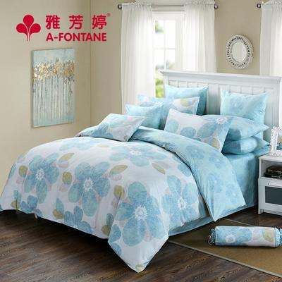 雅芳婷 全棉植物印花床笠四件套 床单被套纯棉田园风套件1.8m双人