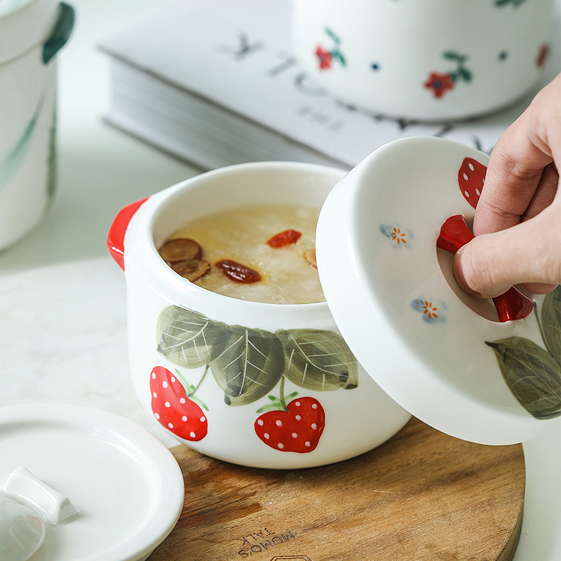 Northern wind ins ears creative ceramic strawberry stew with cover water household small cup for cup bowl of soup pot stew pot
