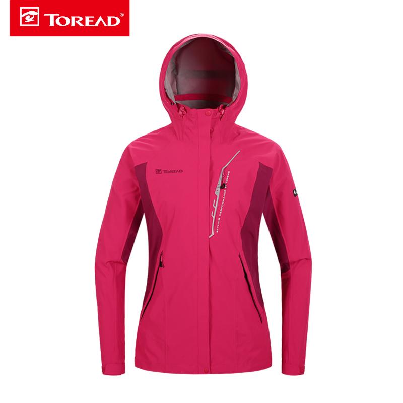 探路者冲锋衣 秋冬户外女款两件套防风保暖套羽绒冲锋衣KAWF92320