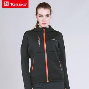 探路者2017秋冬新款户外女式保暖透气弹力越野跑步外套KAEF92604
