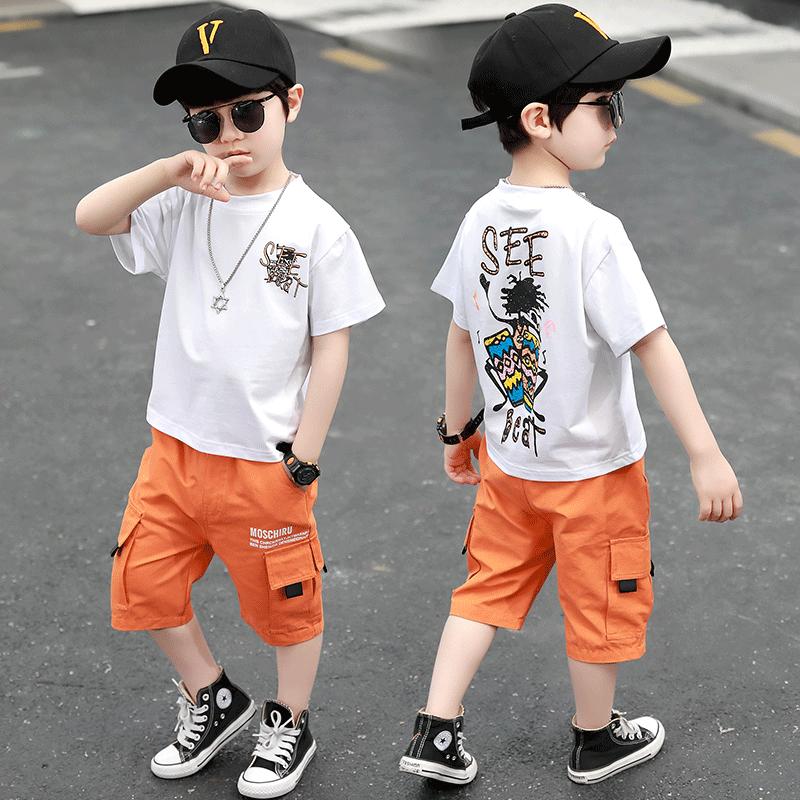 儿童夏装男童套装童装短袖2020新款中大童男孩夏季洋气两件套潮衣