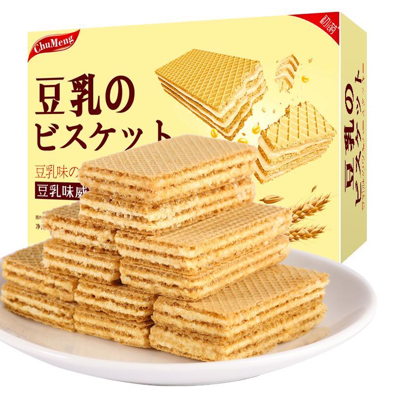不多言日本风味豆乳威化饼干非进口印尼夹心芝士低糖低零食卡脂零