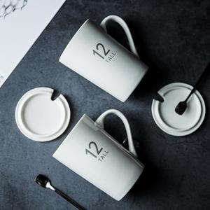 杯子创意个性潮流陶瓷杯带盖勺北欧ins大容量喝水杯马克杯咖啡...