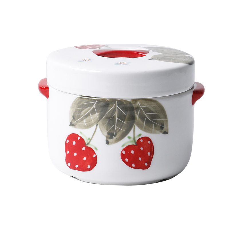 Kitchen ceramic ears stew creative cartoon express strawberry design with cover water small household soup bowl stew stew