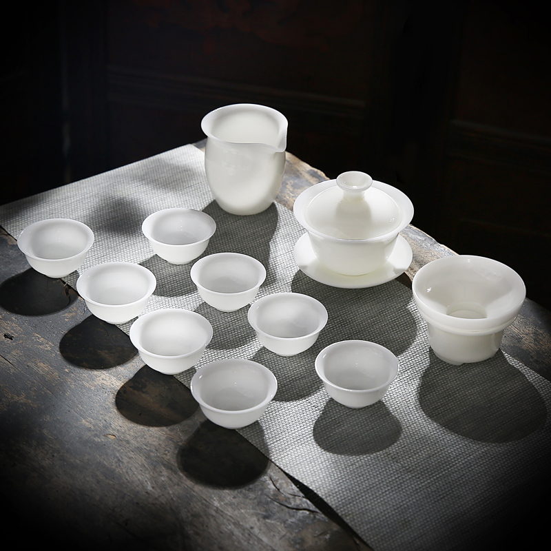 RenXin kung fu tea set manually glaze'm heat ore dehua white porcelain tureen fair keller cup gift boxes
