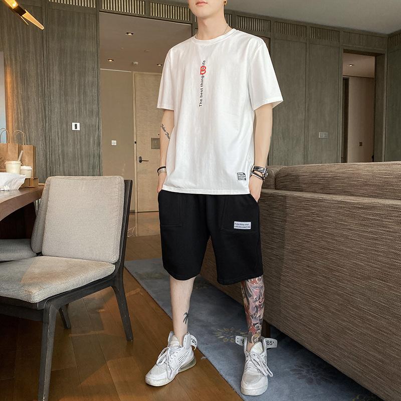 纯棉 男士短袖t恤夏季2020新款潮流一套搭配休闲运动套装潮牌衣服