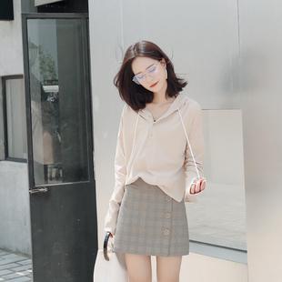美物家2017秋季新款bf宽松套头连帽卫衣女装韩版学生薄款小卫衣潮