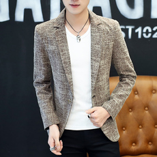 Men's self-cultivation suit, male spring and autumn, handsome personality, small suit, trend, British nightclub, casual coat, pure color.
