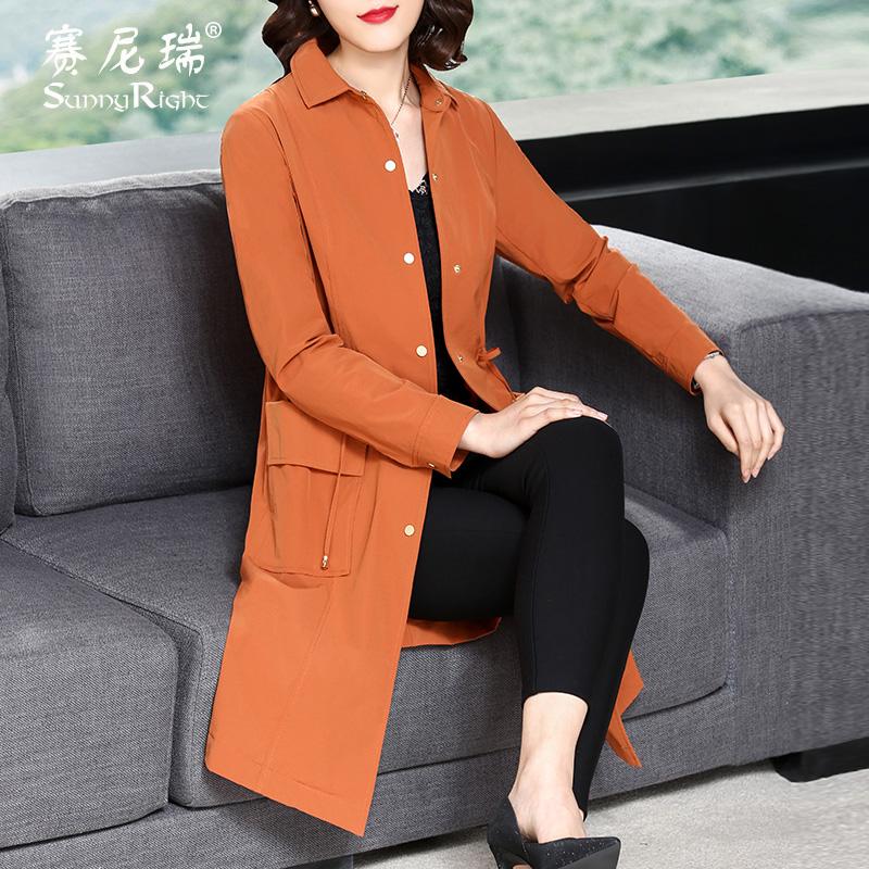 春秋外套2018新款优雅女装赛尼瑞长袖收腰系带女式焦糖色风衣