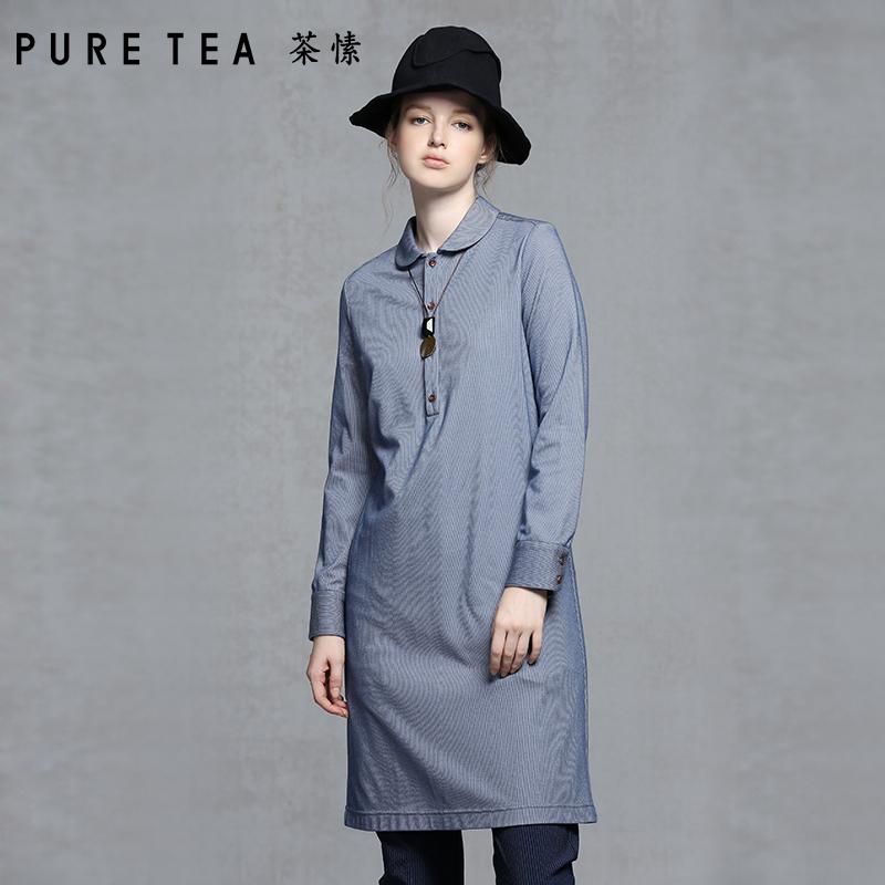 PURE TEA茶愫 铜氨纤维H型中长款衬衫女文艺气质衬衣2018秋装新款