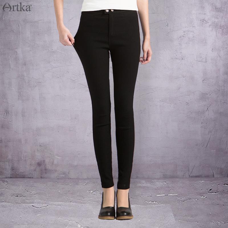 Artka阿卡打底裤女外穿秋季薄款2018新款紧身显瘦黑色KA10473Q