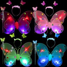 Ангельские крылья 幼儿园女童天使蝴蝶翅膀儿童演出服四件套发光表演道具玩具魔法棒