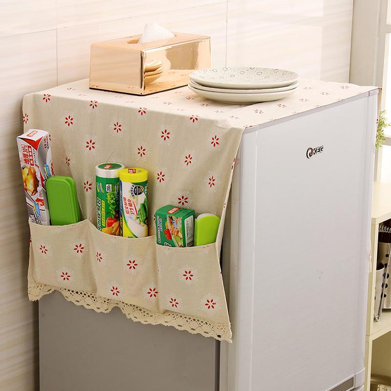 欧润哲 棉麻制田园风冰箱巾 冰箱盖布防尘布 滚筒式洗衣机罩巾