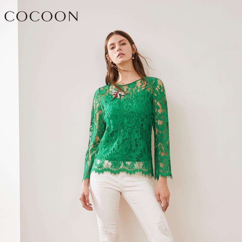 可可尼2018夏装新品女装优雅性感镂空网纱蕾丝吊带两件套上衣