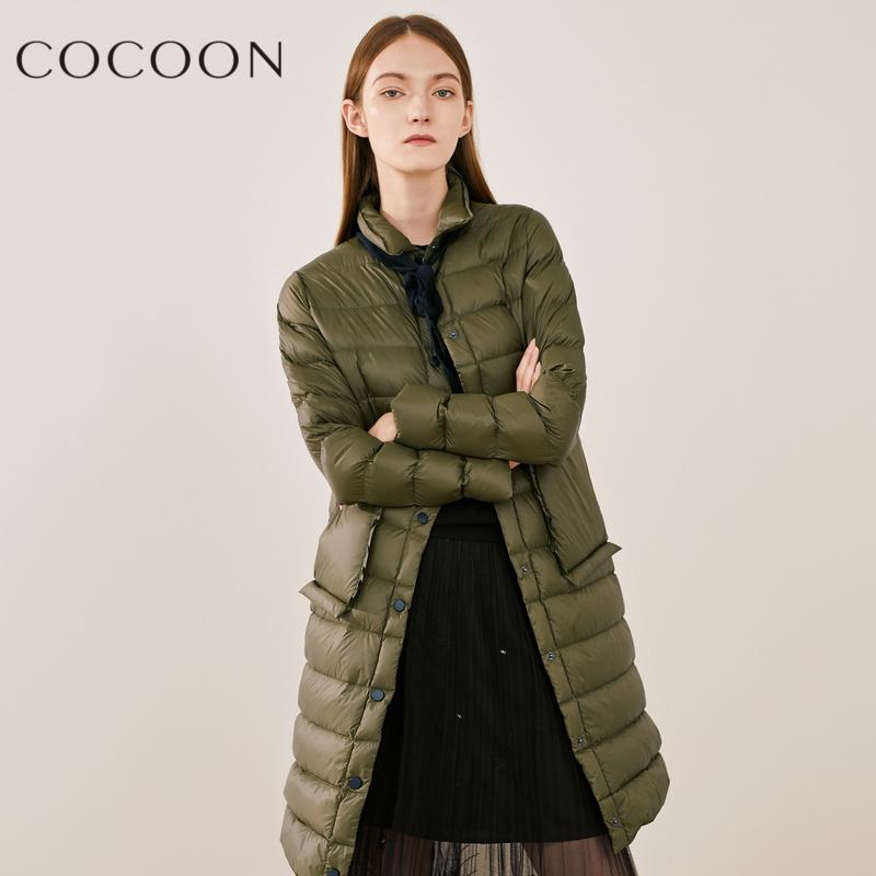 可可尼2018秋装新品女装时尚休闲保暖纯色方领长款格子羽绒服