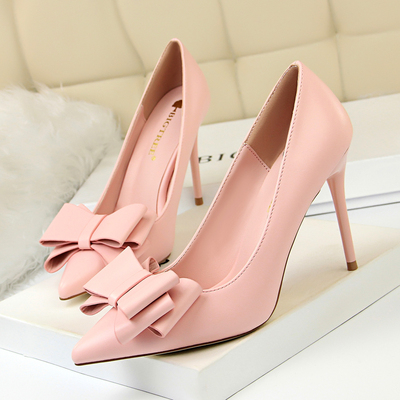 9219-33 han edition high-heeled shoes high heel with thin shallow sweet mouth pointed candy color bowknot is women'