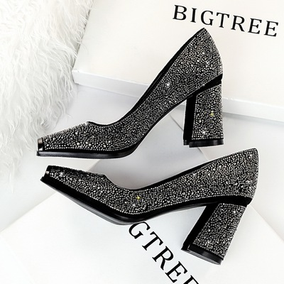 6862-5 European and American wind sexy high heels thick with party with shallow mouth shining metal square diamond women