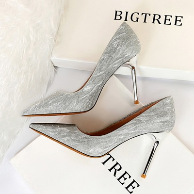 825-12 European and American wind fashion show thin nightclub high-heeled shoes high heel with shallow pointed mouth shi
