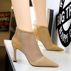 2336-1 the European and American wind sexy nightclub show tall with suede pointed party heels female mesh hollow out sho