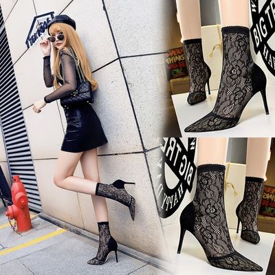 6313-8 European and American wind fashion sexy nightclub show thin fine lace with pointed high-heeled suede mesh short t