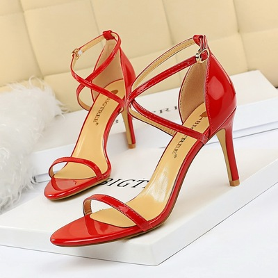126-A7 euramerican fashion wind summer contracted the stiletto heel paint cross with sexy high-heeled sandals nightclu