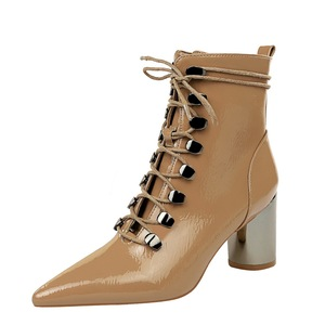 1988-3 or lend the glossy patent leather fashion trend in joker pointed metal with high with cross strap with short boot