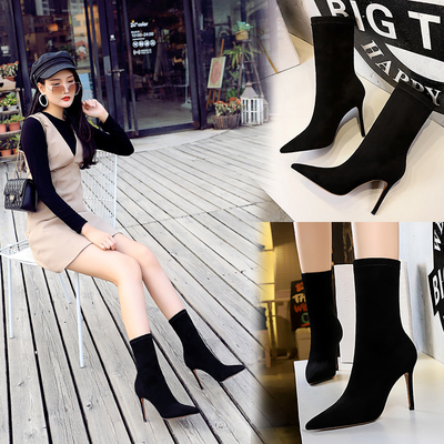 315-8 European and American fashion contracted wind pedicure female boots fine with sexy high-heeled suede tines nightcl