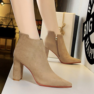 803-2 in Europe and the us winter fashion simple thick with suede sexy high-heeled tines nightclub show thin bare ankle