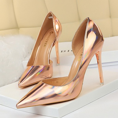 18188-2 in Europe and the metallic high-heeled shoes high heel with shallow pointed mouth side hollow out sexy club wome