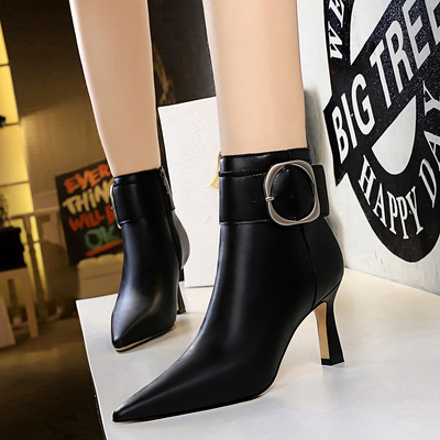 6366-2 the European and American fashion wind glass professional OL female boots with high heels suede tip show thin bel