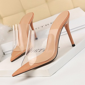 3227-2 the European and American fashion sexy show thin transparent hollow out shoes high heel with a word pointed fish