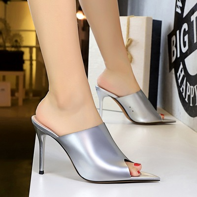 3227-1 the European and American fashion sexy female sandals word pointed high heel with thin transparent fish mouth hol