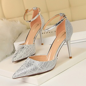7113-1 han edition style sequins fine cloth shoes with high light with hollow pointed mouth hollow out a word with sanda