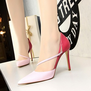 830-2 han edition with shallow fashion high heels since sweet mouth pointed color matching hollow out one word with thin