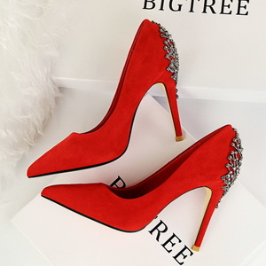 1368-1 the European and American wind fashion high heels for women's shoes suede with shallow mouth party after pointed