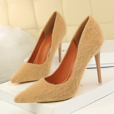 9511-8 European and American wind fashion sexy show thin shoes high-heeled shoes high heel with shallow mouth pointed ma
