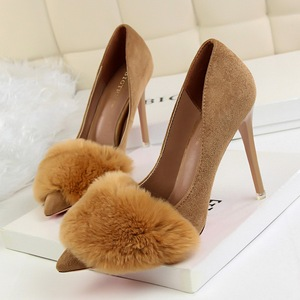 9511-2 han edition fashion sexy shoes maomao shoes high heel with suede shallow pointed mouth rabbit hair single shoes