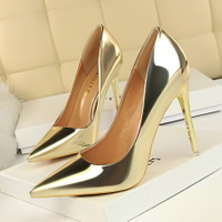 9511-7 European and American wind fashion metal with high heels for women's shoes with shallow mouth pointed sexy nightclub show thin single shoes