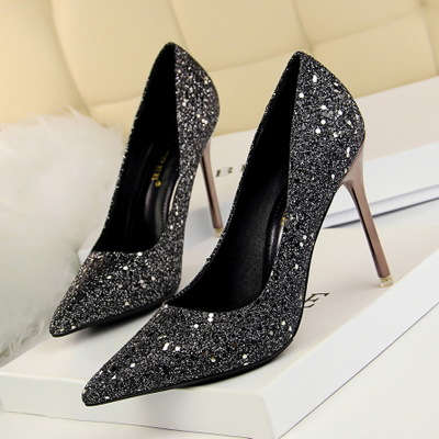 9196-2 han edition high heels for women's shoes high heel with shallow mouth pointed sexy thin nightclub shiny piece of