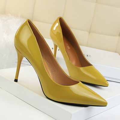 1785-6 han edition contracted sexy fashion show thin shoes with patent leather high heel lighter pointed professional OL
