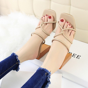 8868-5 han edition style wood grain with ultra-high with square with thick with square cross hollow out peep-toe female