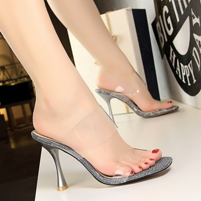 127-7 in Europe and the contracted summer cup women's shoes with high heels glitter peep-toe lag transparent word a