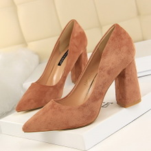 828-2 in Europe and the contracted wind thick with tall with suede shallow mouth pointed professional OL show thin shoes high heels shoes