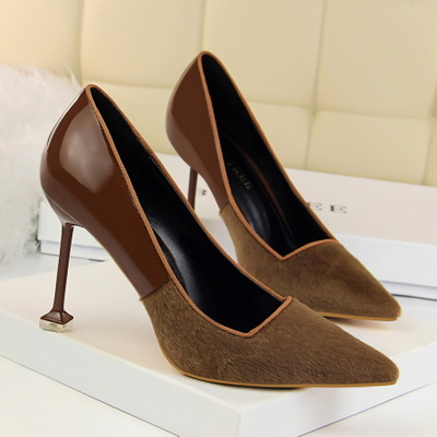1716-12 in Europe and the wind for women's shoes high heel with shallow mouth pointed sexy high-heeled shoes paint color